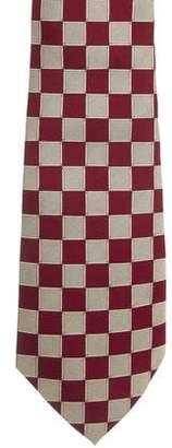 Hermes Checker Pattern Silk Jacquard Tie