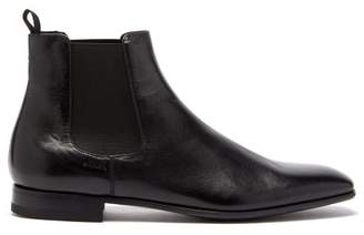 Prada Square Toe Leather Chelsea Boots - Mens - Black