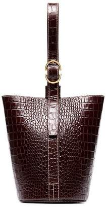 Trademark small classic crocodile embossed leather tote