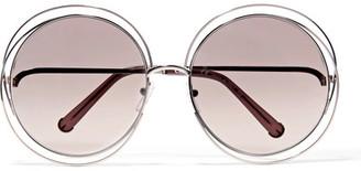 Chloé - Carlina Round-frame Gold-tone Sunglasses $621 thestylecure.com