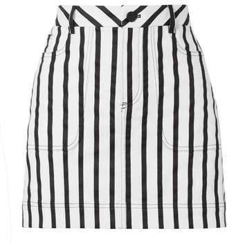 Alice + Olivia Alice Olivia - Gail Striped Cotton-blend Twill Mini Skirt - Black
