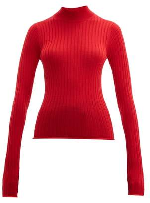 Acne Studios Kulia High Neck Ribbed Wool Sweater - Womens - Red