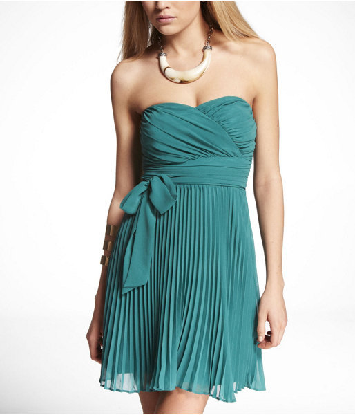 Express Pleated Strapless Tube Dress