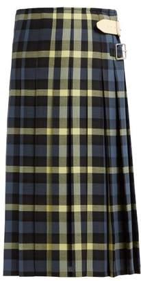 1ad88b96e7c3f6 Golden Goose High Rise Pleated Check Wool Midi Skirt - Womens - Navy Multi