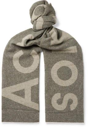 Acne Studios Toronty Logo-Jacquard Wool-Blend Scarf - Men - Gray