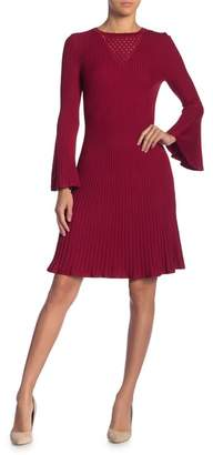 Taylor Pointelle Bell Sleeve Sweater Dress