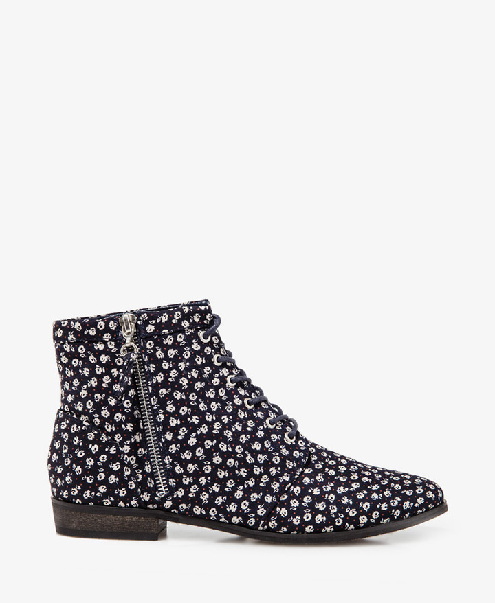 Forever 21 Flower Power Lace-Up Booties