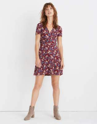 Madewell Wrap-Front Mini Dress in Antique Flora