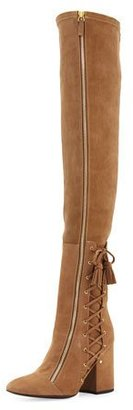 Laurence Dacade Maren Side-Lace Over-The-Knee Boot, Tan $1,800 thestylecure.com
