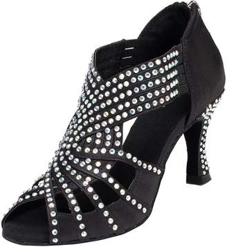 BEIGE TDA Womens Zipper Mid Heel Silver Glitter Synthetic Crystals Latin Modern Salsa Tango Ballroom Wedding Dance Shoes