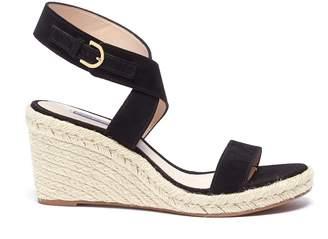 Stuart Weitzman 'Lexia' cross strap suede espadrille wedge sandals
