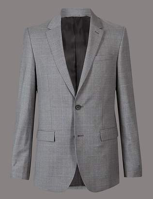 Marks and Spencer Grey Checked Tailored Fit Wool Jacket