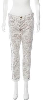 Current/Elliott Mid-Rise Sandstone Lace Jeans