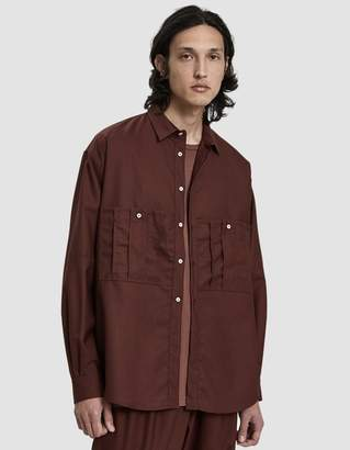 Dima Leu Wool Button Up Shirt in Brown