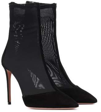 Aquazzura Hot Stuff suede and mesh ankle boots