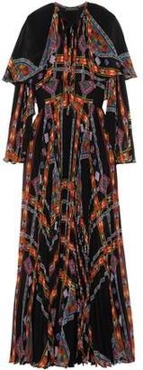 Etro Cape-Effect Printed Plissé Silk-Chiffon Gown