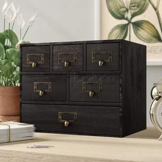 Gracie Oaks Kristian Apothecary Wood 6 Drawer Desktop Organizer