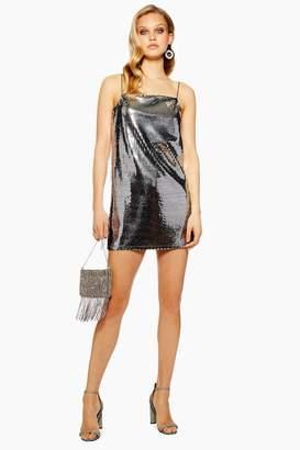 Topshop PETITE Silver Sequin Mini Dress