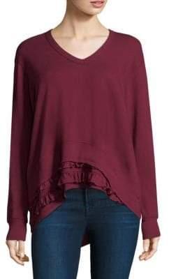 Wilt Ruffle V-Neck Sweatshirt