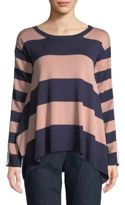 Joan Vass Long-Sleeve Crewneck Relaxed Mixed-Media Stripe Sweater