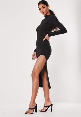 Missguided Black Ribbed Split Bodycon Midaxi Dress, Black