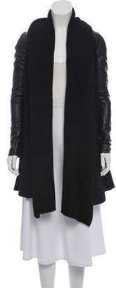 Marna Ro Leather-Trimmed Wool Cardigan Black Marna Ro Leather-Trimmed Wool Cardigan