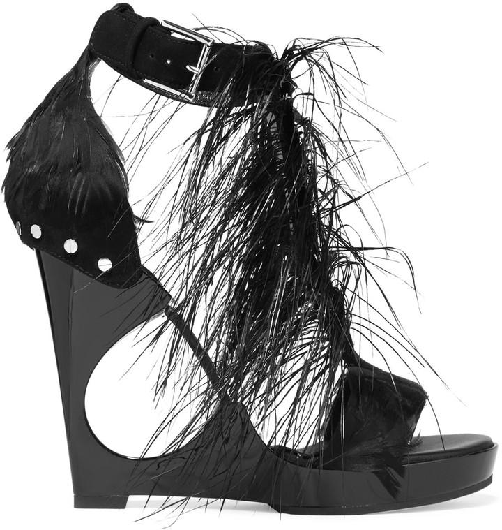 Alexander McQueenAlexander McQueen Feather-embellished suede and acrylic wedge sandals