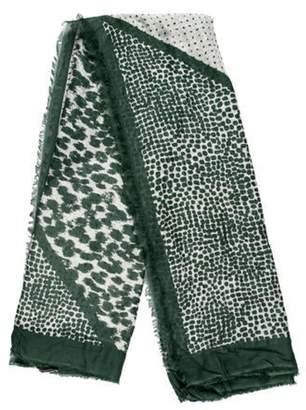 Stella McCartney Printed Fringe-Trim Scarf Green Printed Fringe-Trim Scarf