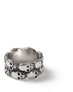 Topman Mens Silver Skull Band Ring*
