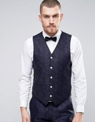 Gianni Feraud Slim Fit Linen Floral Wedding Vest