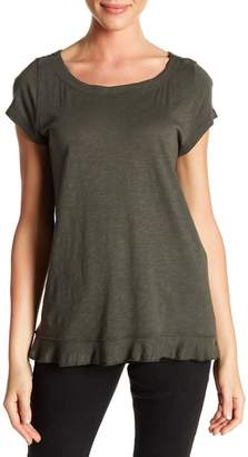 Susina Boatneck Short Sleeve Ruffle Tee (Regular & Petite)