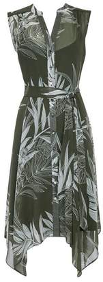 Wallis Khaki Palm Print Button Dress