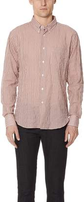 Naked & Famous Denim Striped Summer Button Up Shirt
