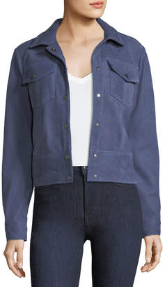 Parker Dalva Snap-Front Suede Leather Jacket