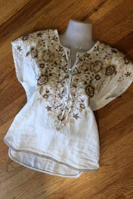 Johnny Was Embroidered Linen Top