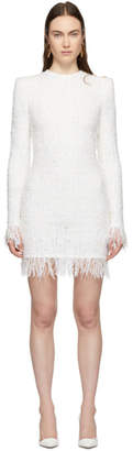 Balmain White Fringe Tweed Three-Button Dress