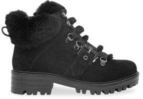 KENDALL + KYLIE Women's Edison Faux Fur-Lined Suede Ankle Hiker Boots - Black - Size 6.5