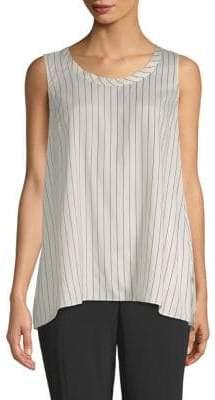 Brunello Cucinelli Striped Silk High-Low Top
