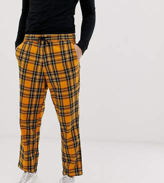 Collusion COLLUSION tapered fit check pant in orange