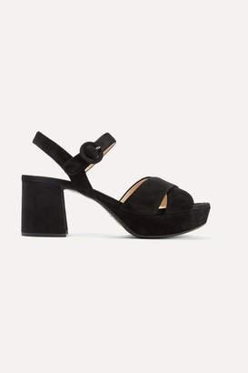 Prada Suede Platform Sandals - Black