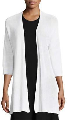 Eileen Fisher 3/4-Sleeve Organic Linen Links Cardigan $188 thestylecure.com