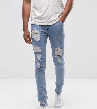 Asos DESIGN TALL Skinny Jeans In Light Wash Blue Vintage With Heavy Rips and Repair