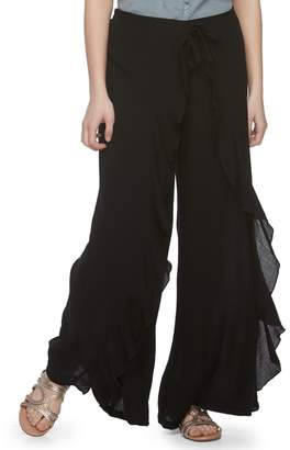 Vanilla Star Juniors' Ruffled Soft Wide-Leg Pants