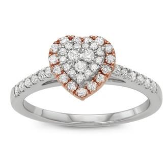Vera Wang Simply Vera Two Tone 14k Gold 1/2 Carat T.W. Diamond Heart Engagement Ring