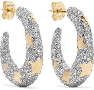 Alison Lou Petite Étoile 14-karat Gold And Glittered Enamel Hoop Earrings