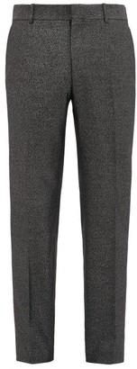 Alexander McQueen Slim Leg Wool Blend Lame Trousers - Mens - Black