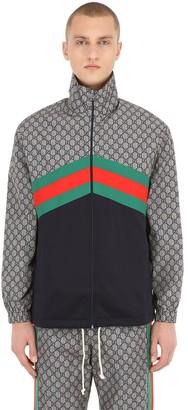 Gucci Gg Supreme Logo Print Tech Jersey Jacket