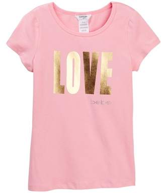 Bebe Foil Screen Print Love Tee (Big Girls)
