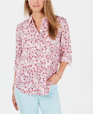 Charter Club Petite Linen Floral Roll-Tab Shirt