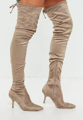 Missguided Beige Over The Knee Mid Heel Boots
